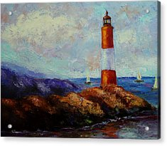 Acrylic Print featuring the painting At Sea by Marie Hamby