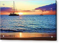 Acrylic Print featuring the photograph At Sea Sunset by Robert  Aycock