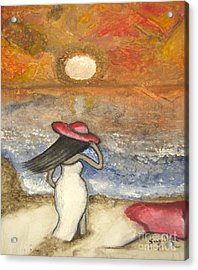 At The Beach Acrylic Abstract Art By Saribelle Acrylic Print