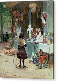 At The Champs Elysees Gardens Acrylic Print by Victor Gabriel Gilbert