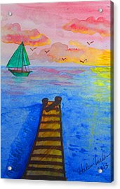 At The Dock Acrylic Print by Haleema Nuredeen