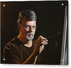 At The Easel Self Portrait Acrylic Print by Glenn Beasley