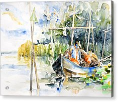 At The Fish Trap Acrylic Print by Barbara Pommerenke