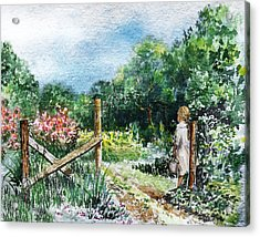 Acrylic Print featuring the painting At The Gate Summer Landscape by Irina Sztukowski