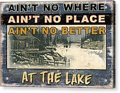 At The Lake Sign Acrylic Print by JQ Licensing