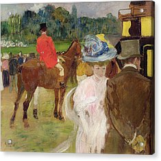 At The Races At Auteuil Acrylic Print by Leon Georges Carre