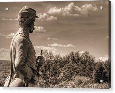 At The Ready - 84th Ny Vol Infantry 14th Brooklyn Regiment Red Legged Devils Railroad Cut Gettysburg Acrylic Print by Michael Mazaika