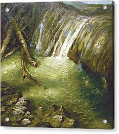 Acrylic Print featuring the painting At The Waterfall by Dmitry Spiros
