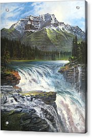 Acrylic Print featuring the painting Athabasca Falls by LaVonne Hand