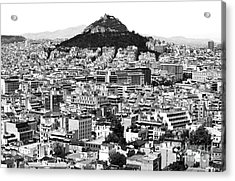 Athens City View In Black And White Acrylic Print by John Rizzuto