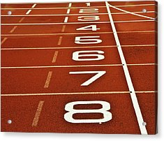 Athletics Running Track Start Finish Line Acrylic Print by Matthew Gibson