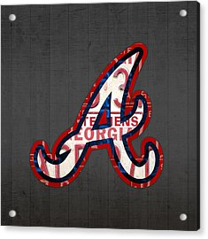 Atlanta Braves Baseball Team Vintage Logo Recycled Georgia License Plate Art Acrylic Print