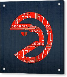 Atlanta Hawks Basketball Team Retro Logo Vintage Recycled Georgia License Plate Art Acrylic Print by Design Turnpike