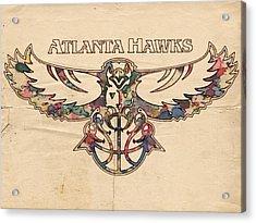 Atlanta Hawks Poster Vintage Acrylic Print by Florian Rodarte