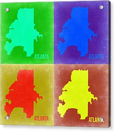 Atlanta Pop Art Map 2 Acrylic Print by Naxart Studio
