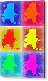 Atlanta Pop Art Map 3 Acrylic Print by Naxart Studio