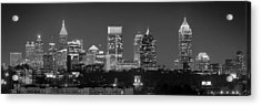 Atlanta Skyline At Night Downtown Midtown Black And White Bw Panorama Acrylic Print