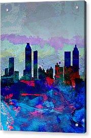 Atlanta Watercolor Skyline Acrylic Print by Naxart Studio