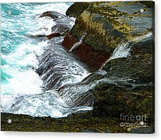 Atlantic Blue On The Rocks Acrylic Print by Lorraine Heath