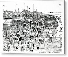Acrylic Print featuring the drawing Atlantic City Boardwalk 1890 by Ira Shander