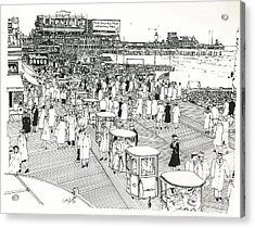 Acrylic Print featuring the drawing Atlantic City Boardwalk 1940 by Ira Shander
