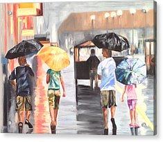 Atlantic City Boardwalk Rain Acrylic Print