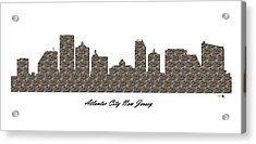 Atlantic City New Jersey 3d Stone Wall Skyline Acrylic Print
