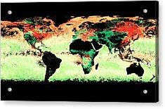 Atmospheric Aerosol Distribution Acrylic Print by Reto Stockli/nasa's Earth Observatory/modis Atmosphere Science Team/goddard Space Flight Center