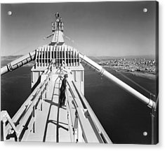 Atop The Golden Gate Bridge Acrylic Print by Underwood Archives