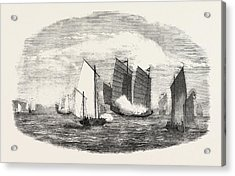 Attack On A Chinese Piratical Fleet By The Boats Of H Acrylic Print