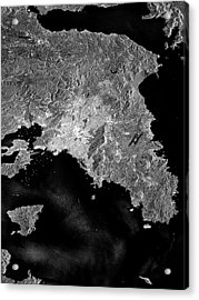 Attica Peninsula Acrylic Print by European Space Agency