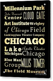 Attractions And Famous Places Of Chicago Illinois Acrylic Print by Joy House Studio
