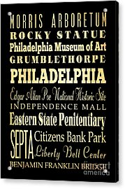 Attractions And Famous Places Of Philadelphia Pennsylvania Acrylic Print by Joy House Studio