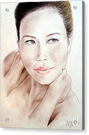 Attractive Asian Woman With Her Hair Pulled Back Acrylic Print by Jim Fitzpatrick