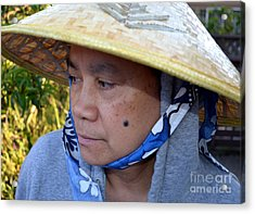 Attractive Filipina Woman With A Mole On Her Cheek And Wearing A Conical Hat Acrylic Print by Jim Fitzpatrick