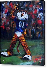 Aubie Doing His Thing Acrylic Print by Carole Foret