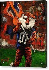 Aubie Running Flags Acrylic Print by Carole Foret
