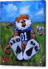 Aubie With The Cows Acrylic Print by Carole Foret