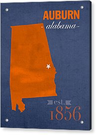 Auburn University Tigers Auburn Alabama College Town State Map Poster Series No 016 Acrylic Print by Design Turnpike