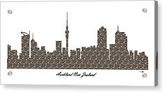 Auckland New Zealand 3d Stone Wall Skyline Acrylic Print