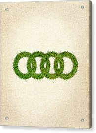 Audi Grass Logo Acrylic Print by Aged Pixel