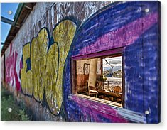 Audition Chair Graffiti Wall Acrylic Print by Scott Campbell