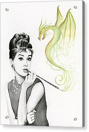 Audrey And Her Magic Dragon Acrylic Print by Olga Shvartsur