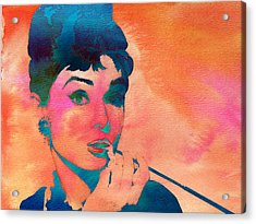 Acrylic Print featuring the painting Audrey Hepburn 1 by Brian Reaves
