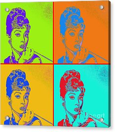 Audrey Hepburn 20130330v2 Four Acrylic Print by Wingsdomain Art and Photography