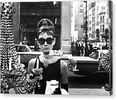 Audrey Hepburn Breakfast At Tiffany's Acrylic Print by Georgia Fowler