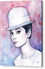 Audrey Hepburn Fashion Watercolor Acrylic Print by Olga Shvartsur