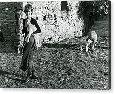 Audrey Hepburn On A Farm Acrylic Print