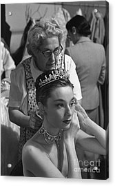 Audrey Hepburn Preparing For A Scene In Roman Holiday Acrylic Print