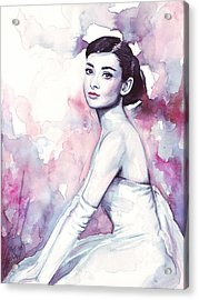 Audrey Hepburn Purple Watercolor Portrait Acrylic Print by Olga Shvartsur